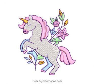 Bordado de Pony Unicornio Blanco con Flores
