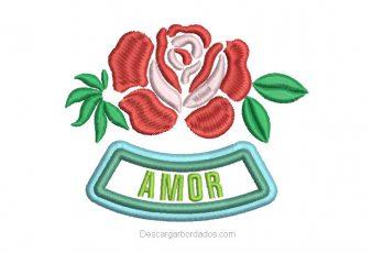 Bordado de Rosas con letras de Amor