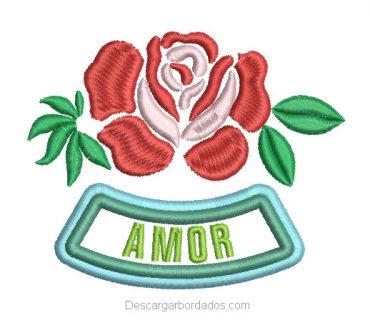 Bordado de Rosa con letra Amor