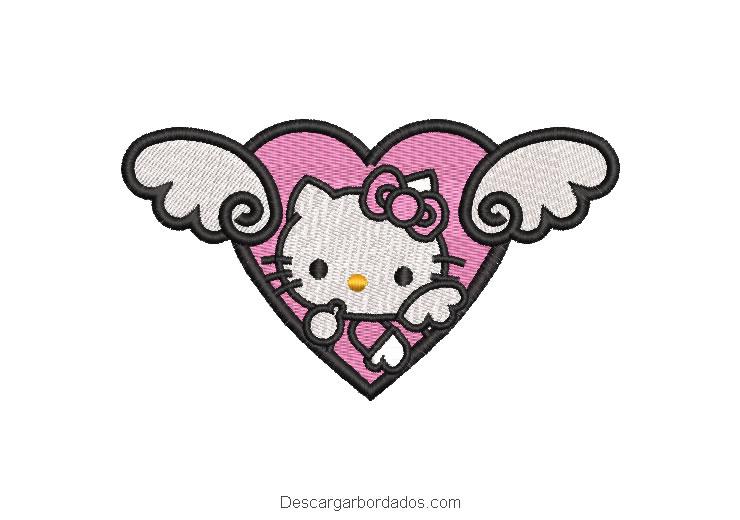 Bordado de corazón con hello kitty