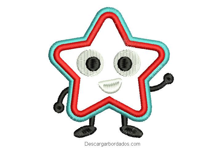 Bordado de estrella de personaje para máquina