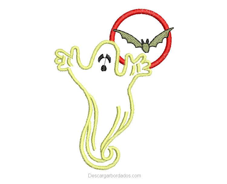 Bordado de fantasma de halloween