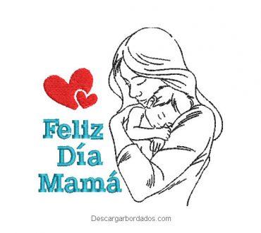 Bordado de feliz día mamá con bebe