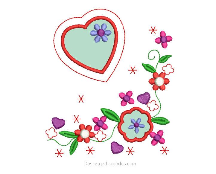 Bordado de flores con Aplicación