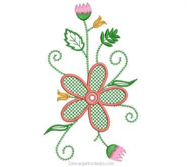 Diseño Bordado Flores con Hojas Verdes