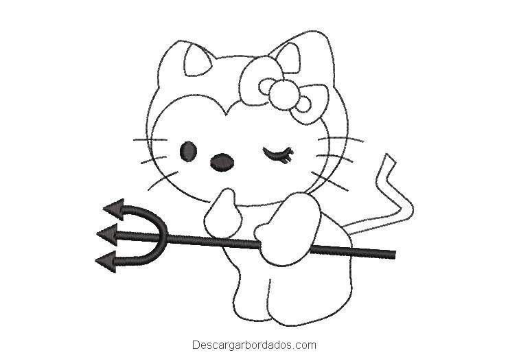Bordado de hello kitty borde con espada