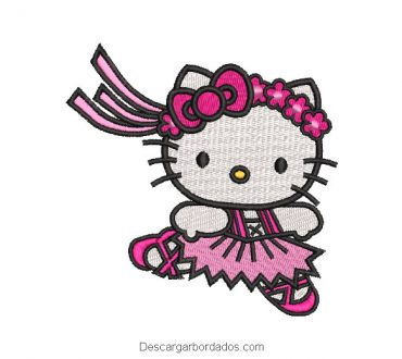 Bordado de hello kitty con vincha con flores