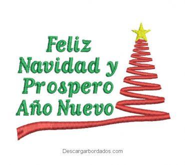 Bordado de letra feliz navidad y prospero año nuevo