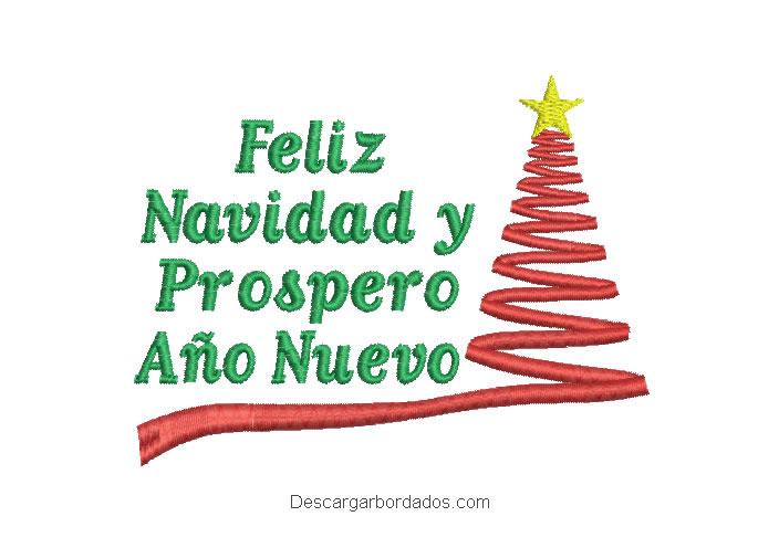 Bordado de letras feliz navidad y prospero año nuevo