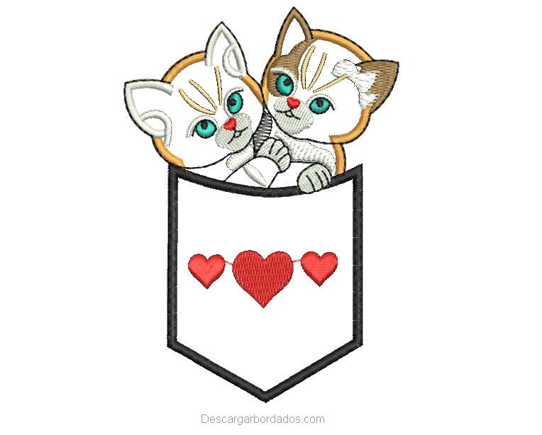 Bordado de lindos Gatitos con aplicación