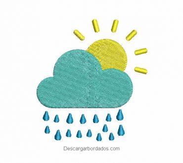 Bordado de nube con gotas de lluvia