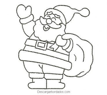 Bordado de Papá Noel delineado para maquina