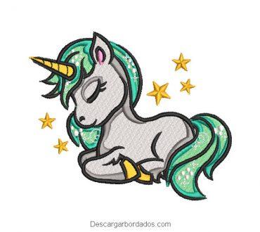 Bordado de pony unicornio durmiendo