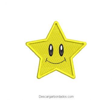 Bordado estrella amarilla con La cara sonriente