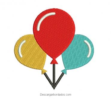 Bordado globos de colores para cumpleaños