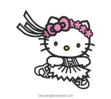 Bordado hello kitty borde con vincha de flores