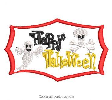 Bordado letra happy halloween en cuadro