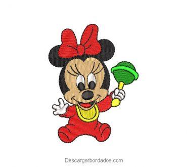 Bordado minnie mouse bebe con juguete