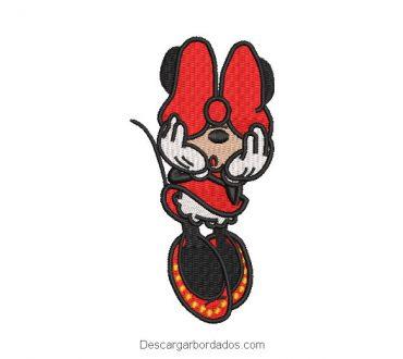 Bordado minnie mouse tapandose los ojos