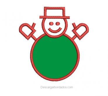 Bordado muñeco de nieve navidad