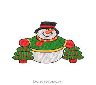 Bordado muñeco de nieve con árbol de navidad