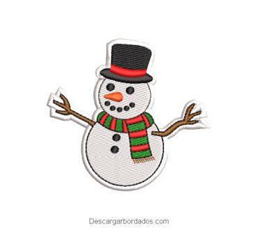 Bordado muñeco de nieve con bufanda