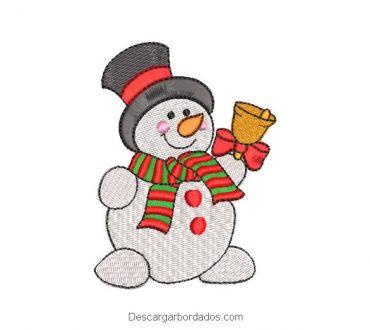 Bordado muñeco de nieve con chalina para navidad