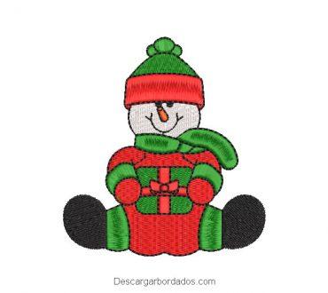 Bordado muñeco de nieve con vestido de navidad