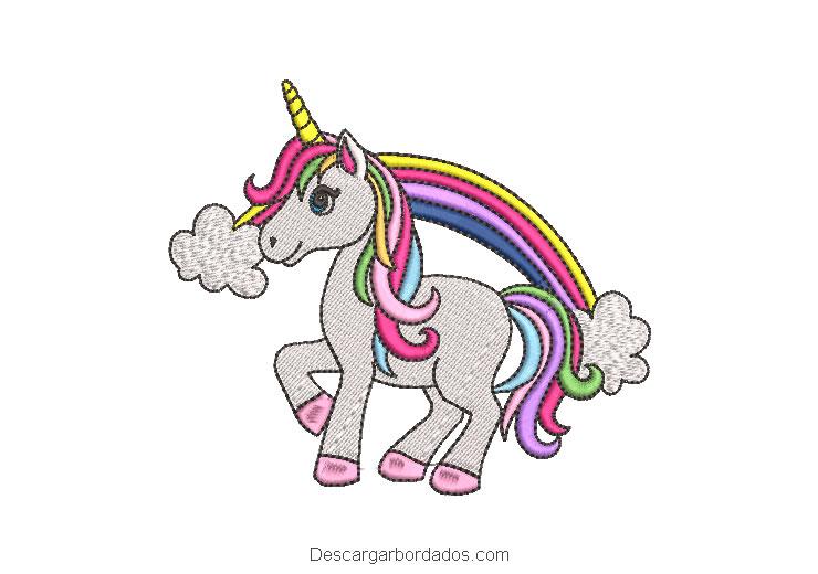 Bordado pony unicornio con colores de arcoiris