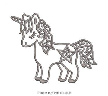 Bordado pony unicornio con estrella delineado