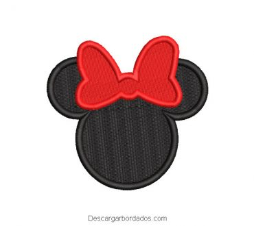 Bordado rostro de mickey mouse negro