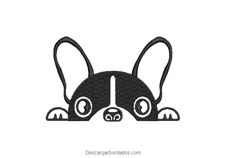 Bordado rostro de perro bulldog frances