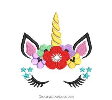 Bordado rostro de pony unicornio con flores