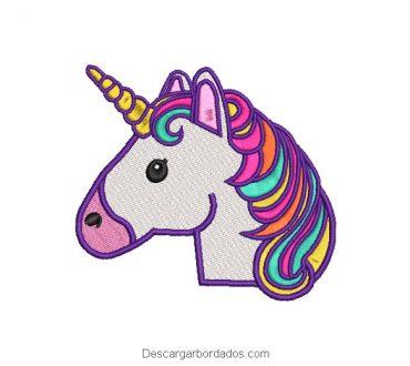 Bordado rostro de unicornio en colores