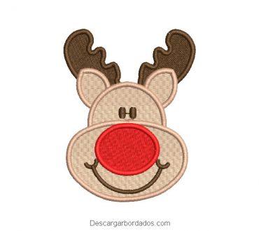 Bordado rostro reno de navidad