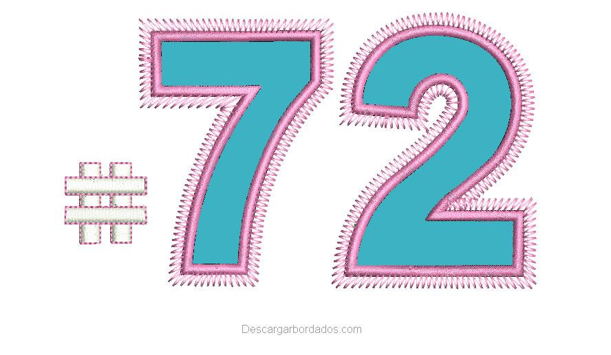 Bordados de Número 72 con Aplicación