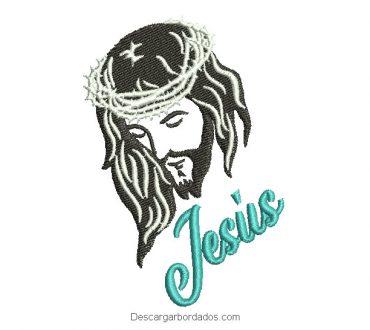 Diseño de rostro de Jesucristo con letra para Bordar