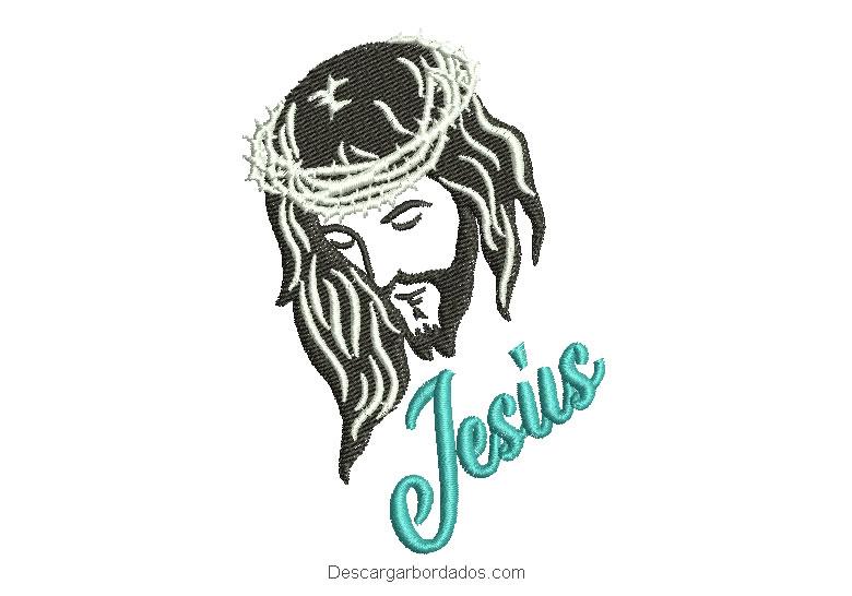 Bordado rostro de Jesucristo con letra