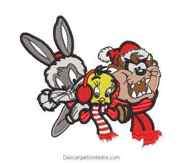 Bugs Bunny Piolín y Taz Bordado de Navidad