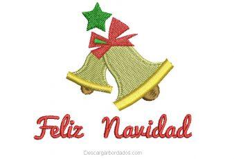 Diseño Bordado de Campana Feliz Navidad
