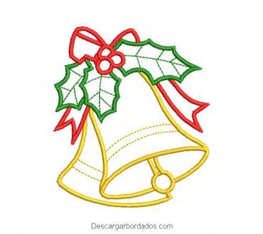 Campana de navidad con hojas bordado a máquina