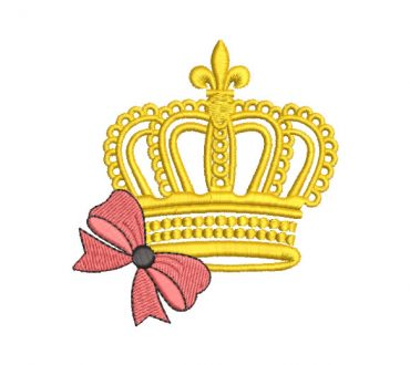 Corona con lazo Diseños de Bordado