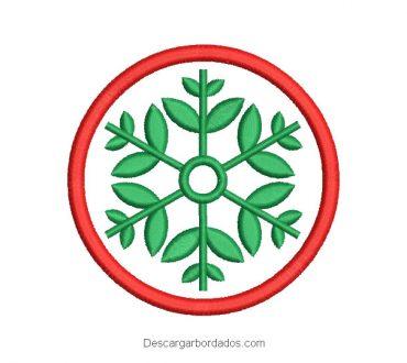 Diseño bordado corona de navidad con flores