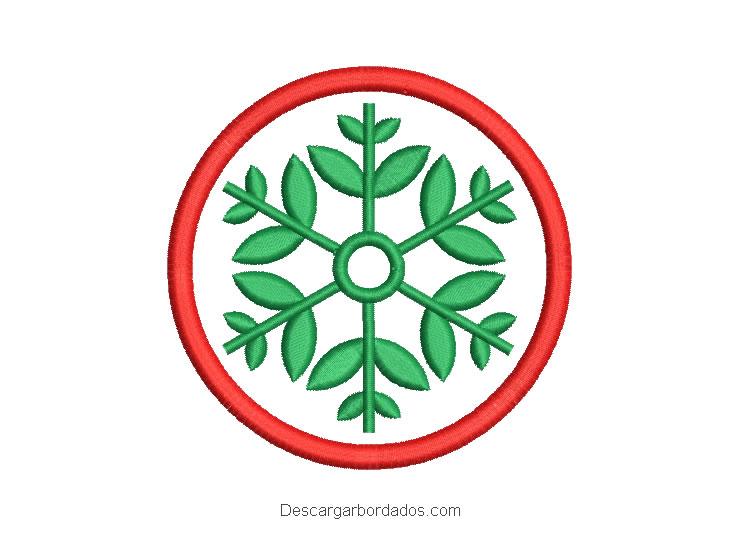 Bordado Corona de navidad con flores