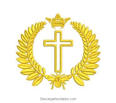 Cruz con Corona Diseño de Bordado
