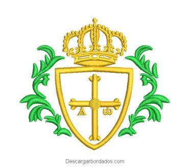 Cruz de Asturias con Crorona Diseño de Bordado