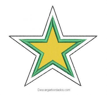Descargar Diseño bordado de estrella con aplicación