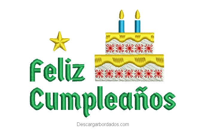 Diseño bordado de feliz cumpleaños