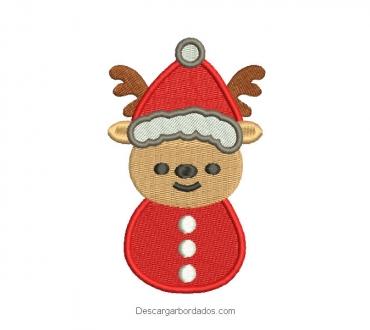 Diseño bordado de reno navideño