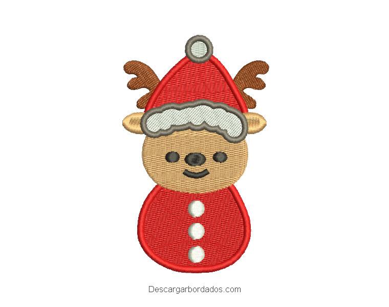 Diseño bordado de reno navideños